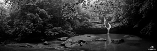 Cedar Falls panorama in black and white
