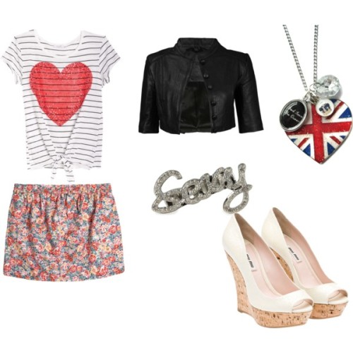 Sexy by lujan-silva featuring a heart teeHeart tee, $20Jack Wills floral print skirt, $80Miu Miu high heel shoes, $630Hoolala heart jewelry, £28Stone jewelry, $12