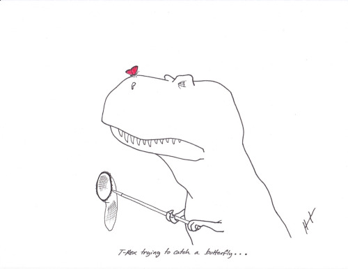 trextrying:  T-Rex Trying to Catch a Butterfly… We are proud to announce our new partnership with the Houston Museum of Natural Science as they prepare to open their fabulous new paleontology wing: http://blog.hmns.org/2012/05/why-you-should-care-about-wyrex-meet-his-groundbreaking-feet-and-say-hello-to-our-new-mascot/ #TRexTrying