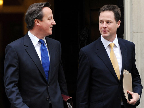 David Cameron and his deputy, Nick Clegg, prepare to renew their coalition vows as they head off for a visit to Essex. The two plan to reaffirm their commitment to tackling Britain's record deficit and rebuilding the shattered economy in the face of continuing turmoil in EuropePhotograph: Nick Ansell/PA