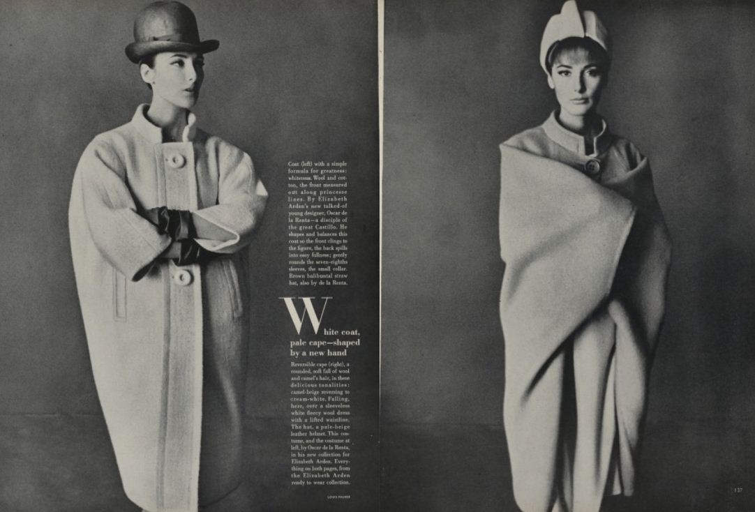 """white coat, pale cape-  By Elizabeth Arden's new talked about designer Oscar de la Renta"". Oscar's first Vogue credit, April 1963"