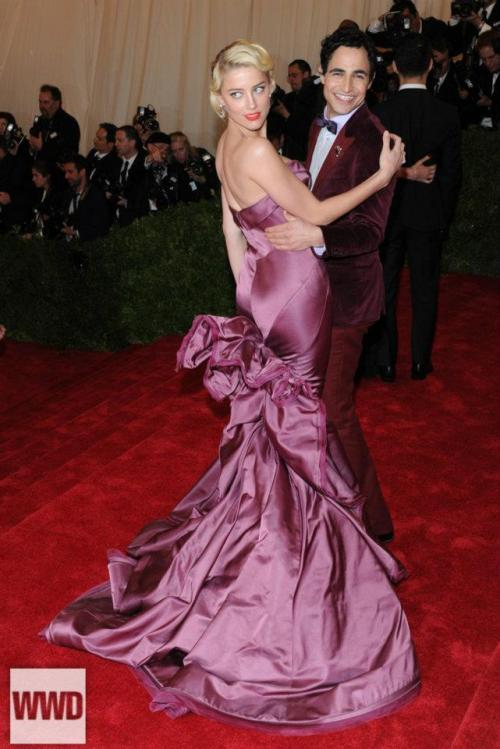 Zac Posen and Amber Heard, 2012 MET Gala