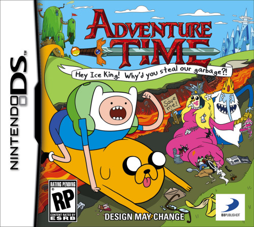 "adventuretime:  Who Want To Play Video Games? Here's your first look at D3P and Cartoon Network Enterprise's premiere Adventure Time video game, available this fall. And here's what may or may not be your first look at the network's press release: OH MY GLOB! THIS IS LEGENDARY! D3Publisher AND CARTOON NETWORK ENTERPRISES ANNOUNCE NEW PARTNERSHIP and VIDEO GAME for ADVENTURE TIME Play as Finn and Jake, in the Magical Land of Ooo, in the First Ever Interactive Title Based on the Hit Comedy Series, Adventure Time™: Hey Ice King! Why'd You Steal Our Garbage?! LOS ANGELES – May 8, 2012 – Ready for a mathematical, algebraic, radical time? D3Publisher (D3P), a publisher and developer of interactive entertainment software, and Cartoon Network Enterprises (CNE) today officially announced the upcoming release of Adventure Time: Hey Ice King! Why'd you steal our garbage?!, a video game based on the popular Cartoon Network series, Adventure Time. This is the first Adventure Time video game that will release on the Nintendo 3DS™ hand-held system and Nintendo DS™ hand-held system late fall. In the first licensed Adventure Time video game, Finn and Jake wake up one morning to find their trash stolen by the Ice King. Jake couldn't care less about half-eaten bananas, crumpled up burrito wrappers, and old chicken diapers – but when they find out the Ice King is using their stolen goods to construct a Garbage Princess, the heroes embark on a fantastical adventure to teach him a lesson! Journey through the Land of Ooo in an offbeat adventure and discover perilous dungeons and unimaginable treasures, while playing as Finn and Jake in a unique action-adventure experience. Working alongside the game's developer WayForward is the series' creator Pendleton Ward, who is designing a new storyline and quests for the game. ""Adventure Time fans have been asking for a video game to complement the series for some time, and we are working directly with Pendelton Ward, who has an amazing vision for the game,"" said Peter Andrew, vice president of product development, D3P. ""Adventure Time: Hey Ice King! Why'd you steal our garbage?! will be a fan's golden ticket into the elusive Adventure Time universe and will capture the random fun and adventure we all love about the series."" Adventure Time is the pop culture sensation, Emmy-nominated, top-rated show among kids, and its popularity continues to soar both on air and at retail. The series follows Finn, an adventure-seeking kid and Jake, his shape-shifting canine best friend, on their adventures in the Land of Ooo. The awesome duo save princesses, battle the notorious princess-kidnapper, the Ice King, party in Lumpy Space, fight in dungeons, and even befriend Marceline the Vampire Queen. Since the start of its fourth season, Adventure Time is the #1 program on Mondays on all television with kids 6-11. ""The rich and diverse characters in the Adventure Time world are absolutely perfect for a video game franchise and working with D3Publisher, WayForward and Pendelton Ward, we have a great team in place to bring it to life,"" said Pete Yoder, vice president of consumer products, Cartoon Network Enterprises. ""This game will provide the Land of Ooo experience that young fans will love."" Adventure Time: Hey Ice King! Why'd you steal our garbage?!, is currently rated ""RP"" (Rating Pending) by the ESRB. Additional details about the game will be available in the coming months. For more information in the coming months on Adventure Time: Hey Ice King! Why'd you steal our garbage?!, please visit www.d3publisher.us."