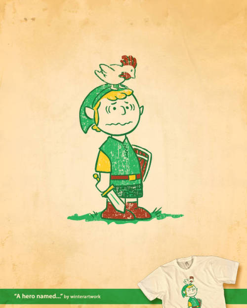 Fan art of the day: Charlie Brown as Link By Winter the Artist, this design is now up for voting on Threadless. Via