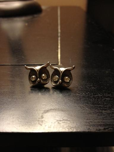 Finally received my owl earrings from etsy.com. I am IN LOVE with them. When will this obsession with owls end?? LOL! I hope never because I am about to get two of them tattooed on my back to represent my daughters. I cant wait. I looked up the meaning of owls and came across these: Romans had symbolically placed the owl in the pedestal to identify status, intelligence and wealth. It was extremely evident then that knowledge and wealth weighs almost equally. Related to the night is the moon, which owls are also connected to.  It becomes a symbol of the feminine and fertility, with the moon's cycles of renewal In early Indian folklore, Owls represent wisdom and helpfulness, and have powers of prophecy.