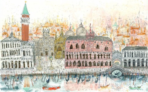 Arriving at Piazza San Marco Venice - Clare Caulfield