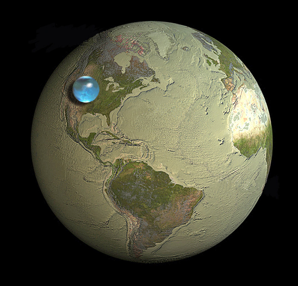 How much water is there on, in, and above the Earth? This picture shows the size of a sphere that would contain all of Earth's water in comparison to the size of the Earth. The blue sphere sitting on the United States, reaching from about Salt Lake City, Utah to Topeka, Kansas, has a diameter of about 860 miles (about 1,385 kilometers) , with a volume of about 332,500,000 cubic miles (1,386,000,000 cubic kilometers). The sphere includes all the water in the oceans, seas, ice caps, lakes and rivers as well as groundwater, atmospheric water, and even the water in you, your dog, and your tomato plant.