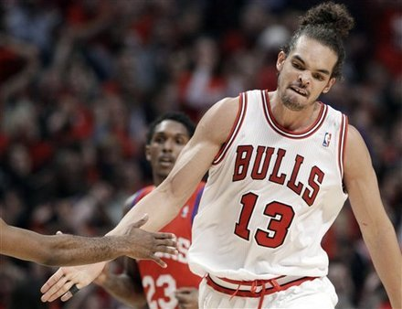 Chicago Bulls coach Tim Thibodeau has said that Joakim Noah will be a game time decision for tonight's game against the Philadelphia 76ers.  Noah sprained his left ankle in game 3 (Don't look for the video or any photos; it's awful. What was even worse the 76ers fans applauding Noah's injury) and missed game 4 shot some free throws without a brace this morning. Thibs said that Noah will likely not play, but things can change by game time.   While it sucks to see Noah on the sidelines, you don't want to see him rush back and potentially run the risk of sustaining another injury or doing further damage to the injury. It's the playoffs and players sacrifice their bodies and play through the pain to achieve glory.  (Via ESPN Chicago)