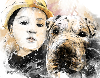Best Friends  Commissioned Work: A portrait of my client's son and dog(Shar pei).  What I love about this piece is the simple emotion I've caught and I gave myself a pat on the back on this one. Also tried to play around with simple colors, pale and light to soften up the kid's face.  Connect with me @:WebsiteDeviant ArtShadownessFacebookTwitterBehance
