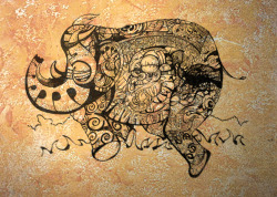 franksdailydoodle:  My Elephant on a wall Murial photo shoped on to a older wall because the photo came out bad. Drop me a mail if you want one of these or some original Frank Art on your wall, Its a blast to do. Its about 4 foot by 7 foot