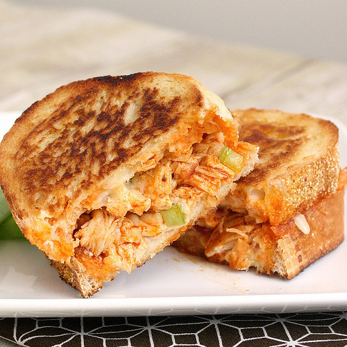 efccooking:  Buffalo Chicken Grilled Cheese  Just busted a nut