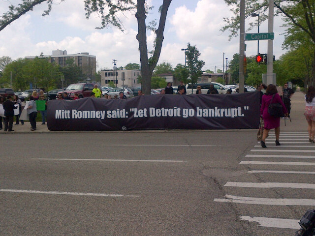 """This is outside Romney's Lansing event,"" Reuters correspondent Sam Youngman tweets."
