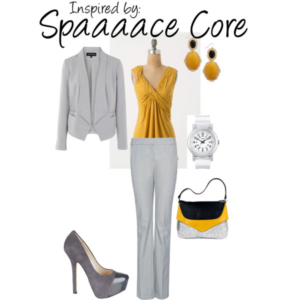 Space Core (Portal 2) by ladysnip3r featuring platform pumps This outfit is inspired by the adorable Spaaaace core from Portal 2. I constantly think that Portal inspired outfits should be business formal because of Aperture Science, so I chose to do a suit in this outfit. I chose bright accessories to match the core and add a sense of quirkiness to the outfit. (Reference Image)