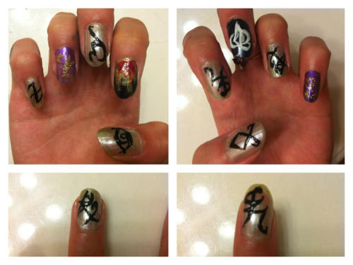 steampunkshadowhunter:  Rune nails!! And one fire nail In honor of CoLS :) Happy CoLS release day! #CoLSParty (on twitter)