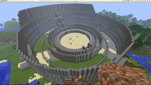 My friend and I are working on building a colosseum with a working sand trap and redstone gates. Created by: inside-elsewhere and royalcarter.