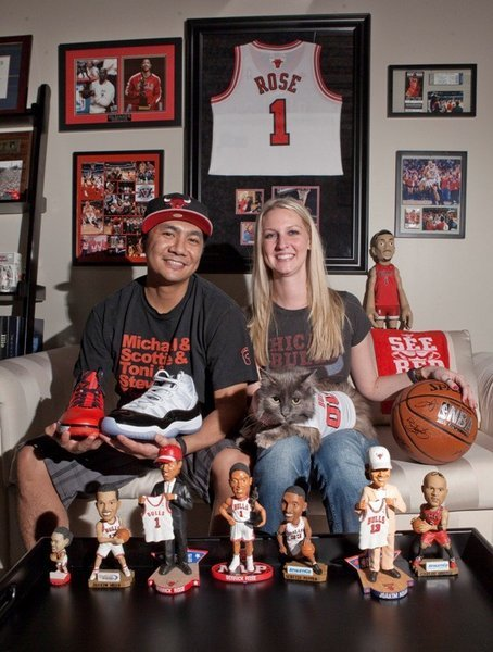 This cat insists he's a die-hard Bulls fan. And not just because his owner is, too.  Awesome and awesomely weird Bulls memorabilia collections