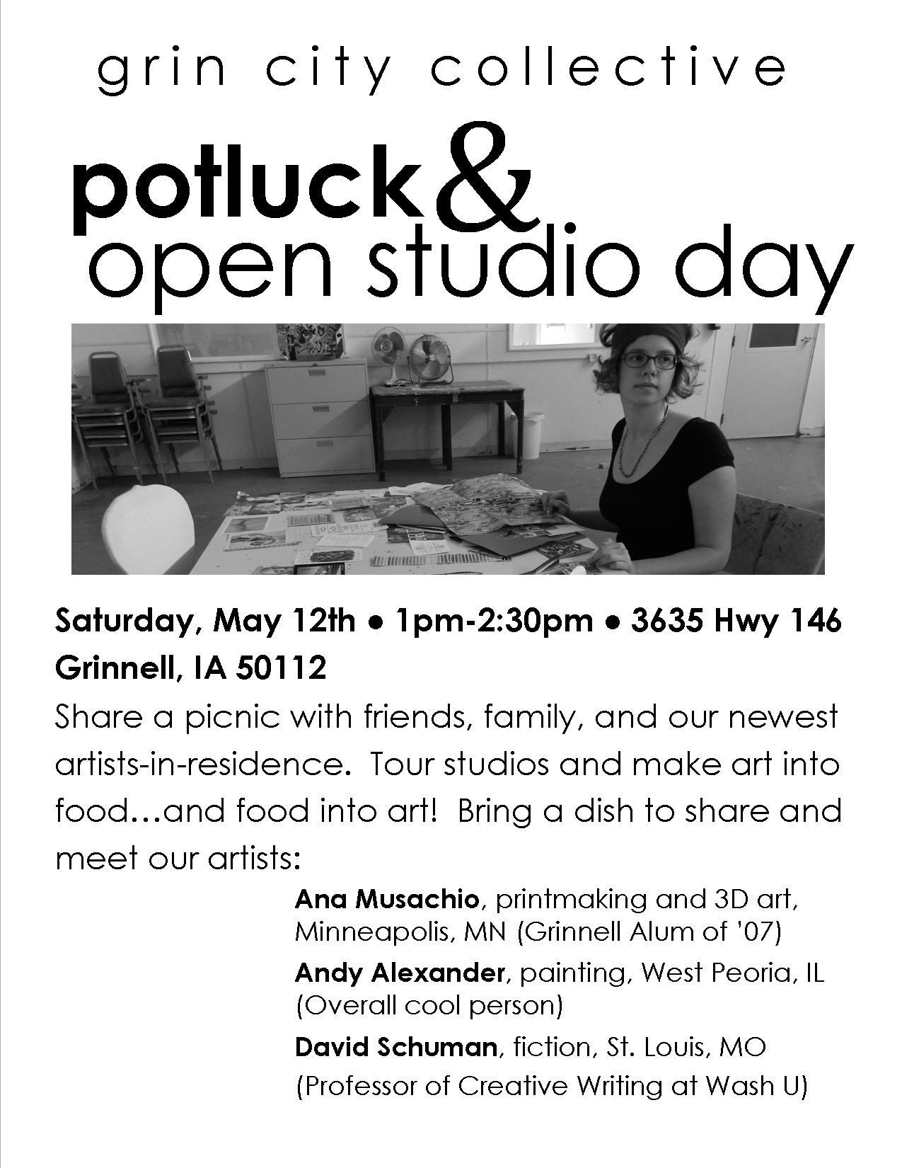 JOIN THE CITIZENS OF GRIN CITY COLLECTIVE THIS SATURDAY FOR A POTLUCK AND OPEN STUDIO DAY.
