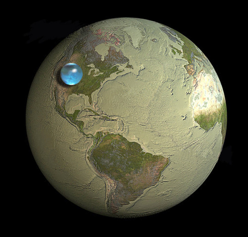 "bbglasses:  Size of Earth compared to size of all Earth's water,including obvious sources like oceans and lakes, but also from your atmosphere, you, your dog, and your tomato plant…,if the water were formed into one globe The blue sphere (representing all Earth's water) sitting on USA, reaching from about Salt Lake City, Utah to Topeka, Kansas, has a diameter of about 860 miles (about 1,385 kilometers) with a volume of about 332,500,000 cubic miles (1,386,000,000 cubic kilometers).  About 3,100 cubic miles (12,900 cubic kilometers) of water, mostly as water vapor, is in the atmosphere at any time. If it all precipitated at once, Earth would be covered with only about an inch of water. If all the world's water was poured on USA, it would cover land, 90 miles deep (145 kilometers).       Learn more: http://goo.gl/Qr33O Penn State Water Resources Website Illustration by Jack Cook, Woods Hole Oceanographic Institution, USGS  Data sources from Igor Shiklomanov's chapter ""World fresh water resources"" in Peter H. Gleick (editor), 1993, Water in Crisis: A Guide to the World's Fresh Water Resources; and The Hydrologic Cycle, USGS pamphlet, 1984 I would have guessed that the water globe would be bigger. What would you have guessed?"