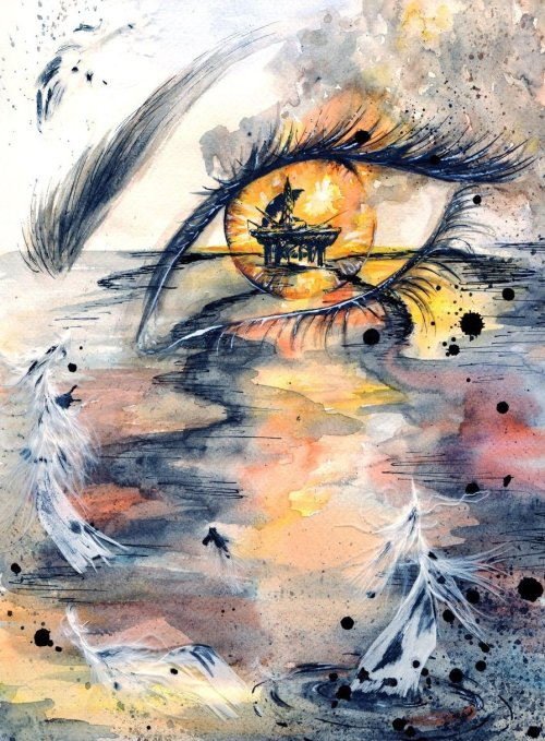 lospaziobianco:  mydarkenedeyes:  Dare To See The Truth Watercolour, black and white ink, white feathers Artist  -  .
