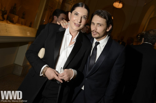 Beyond the Carpet at the  Costume Institute Gala Marina Abramovic in Givenchy with James Franco in Gucci.
