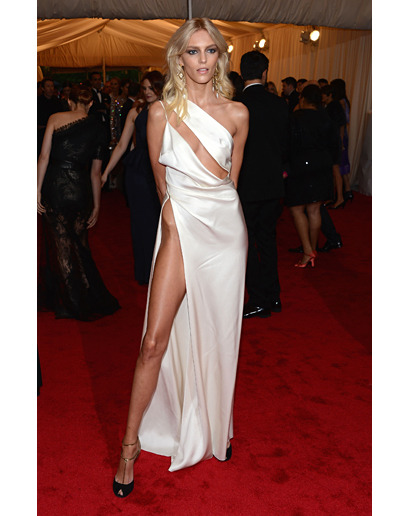 gq:  Anja Rubik At the Met Gala Your move, Angelina.  Hold still, I need to sharpen my knife on your hipbone.