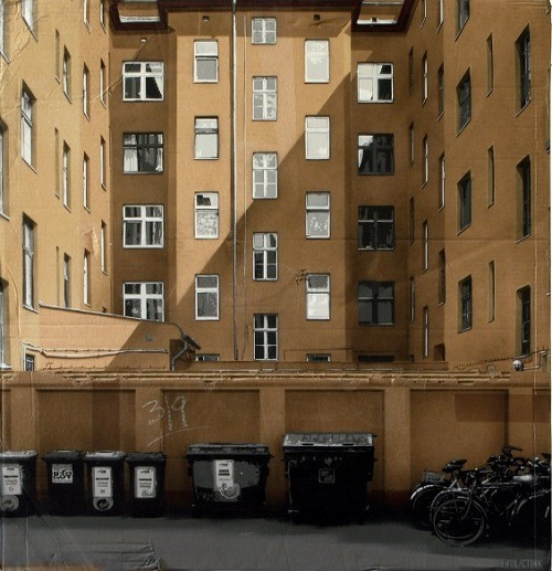 And speaking of cardboard cityscapes:   German artist Evol is well known for his street art designs and his ability to transform any object into incredibly detailed cityscapes and other urban environments. Using recycled cardboard, he creates realistic buildings and other structures with the use of spray paint and stencils. His uncanny attention to detail reveals intricacy from light, shadows and textures in his 'city'.  (via Artist Builds Realistic Urban Cityscape Using Recycled Cardboard - DesignTAXI.com)