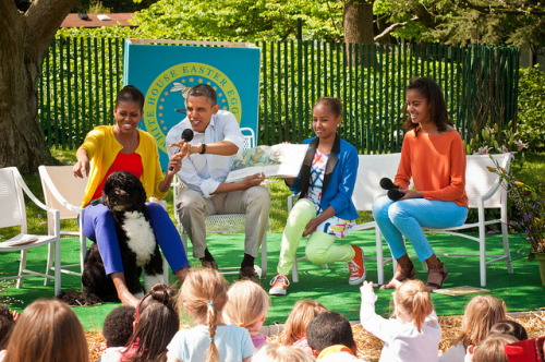 "President Obama reading Maurice Sendak's ""Where the Wild Things Are,"" April 2012."