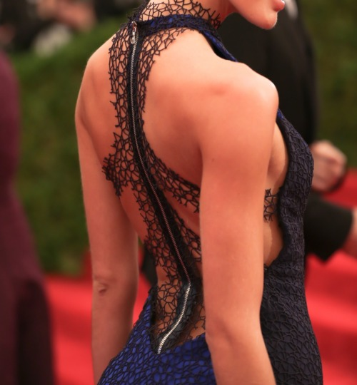 glamour:  The back of Candice Swanepoel's Rag & Bone dress at the Met Gala.