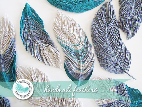 DIY Beautiful Handmade Feathers Tutorial. I saw this photo last week but there was no tutorial for it yet, but now there is. Tutorial from Jen of Blue Sky Confections (who used them as hair picks and on a wreath) guest blogging on Infarrantly Creative here. *You can make these out of embroidery floss, yarn or string.
