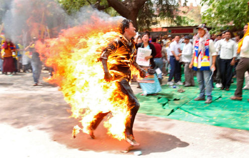 A Tibetan exile on fire. This photo is part of The Atlantic's look inside China.