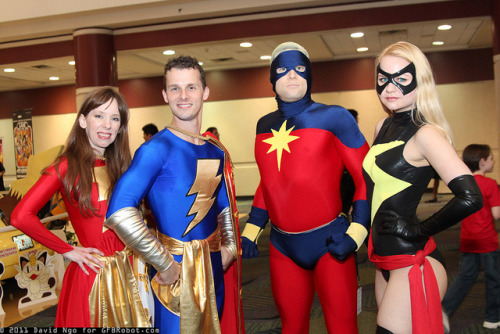 Intercompany Cosplay!  Mary Marvel, Captain Marvel, Jr., Captain Mar-Vell, and Ms. Marvel at Megacon 2012.