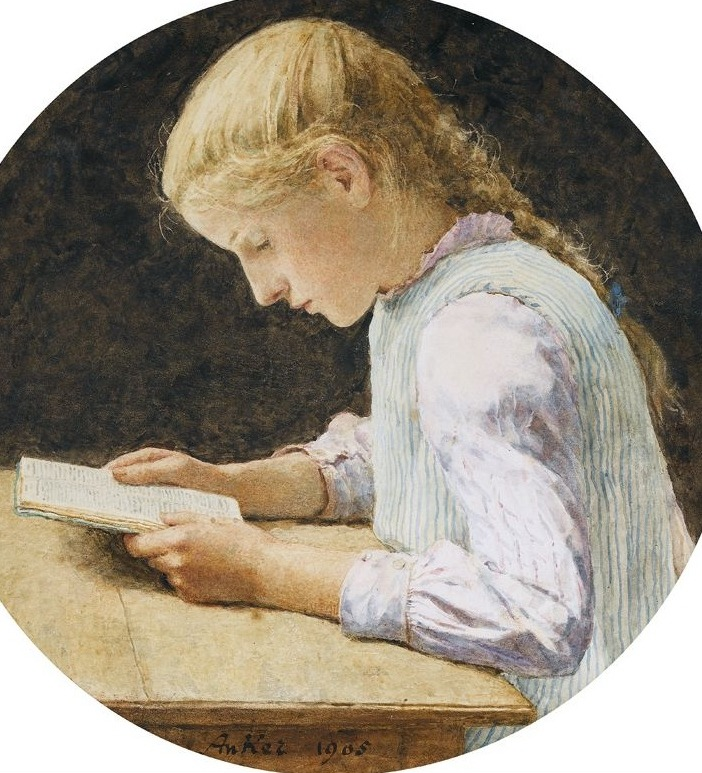 Lesendes Mädchen (Reading Girl), 1905. Albert Anker (1831–1910). Anker studied at the Ecole Impériale des Beaux-Arts in Paris from 1855 until c. 1860, meanwhile selling portraits. Only after his death in 1910 was there a first exposition dedicated to him, held at the Musée d'art et d'histoire in Neuchâtel.