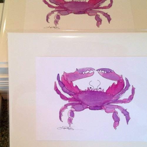 Putting packages together - the new lavender crab print! (Taken with instagram)