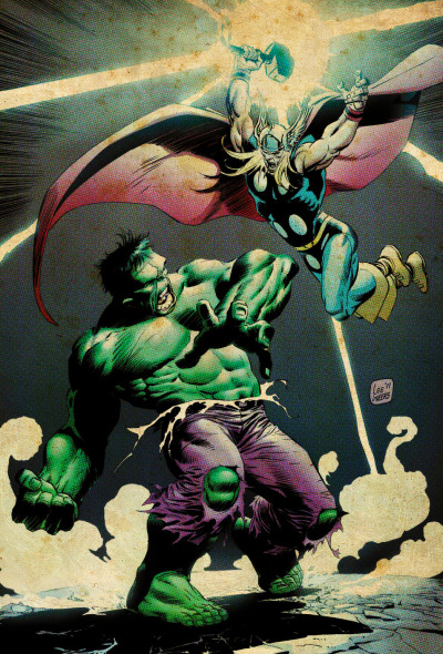 comicbookartwork:  THE INCREDIBLE HULK VERSUS THE MIGHTY THOR!