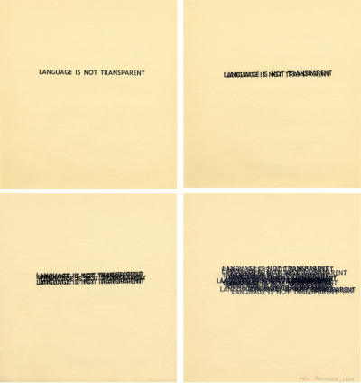 Mel Bochner, Language is not Transparent, 1969, Rubber stamp on four sheets of paper