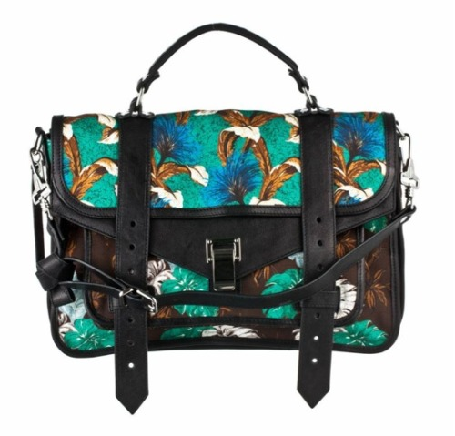 glamour:  Just in time for summer (and your tax refund!) Proenza Schouler's floral PS1 bag.