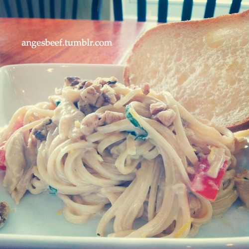 Chicken Carbonara (Recipe via Food Network's Giada De Laurentiis, photo courtesy of my phone) It's always wonderful reuniting with an old friend and catching up over a nice home-cooked meal. Amidst our busy schedules, my childhood friend Silver and I were finally able to sit down for lunch this afternoon. Our conversations are never absent of giggles over boys, updates on mutual friends, and talks of our future. We even caught a bee in a plastic cup and watched it feed on the half eaten grapes and strawberries we threw in with it…We did this for a good 20+ minutes until we set it free outside…do not judge us… :) While we were eating and catching up, it finally hit me that I was almost done college, with a matter of days remaining. Crazy. It seems like only a few months ago when Silver and I had graduated high school and were eagerly awaiting the freedom, excitement, and novelty of life away from home.  But despite how quietly and quickly time has slipped through our hands, I'm thankful that Silver has faithfully been a good friend to me through it all. Just glad we were finally able to sit down for a meal, after maybe a good 4+ months :) The picture above is of a pasta recipe that can be accessed through the link. Just some tips if you plan on making this yourself: Don't try to make it healthier by substituting the cream for milk. The cream & egg yolks are the base of the sauce, and trust me, it's worth it :) Rotisserie chicken is a great time-saver, plus the meat is super tenderrrr Toss in freshly chopped tomatoes at the end, and don't skip out on the lemon zest and basil-it'll help cut down the creaminess a bit (ps. I didn't use parsley) I didn't have pancetta so I completely eliminated it. But bacon is also a good substitute. Serve with a slice of toasted Italian bread, drizzled with a little olive oil Nothing gets better than good food accompanied by good friends. Enjoy!