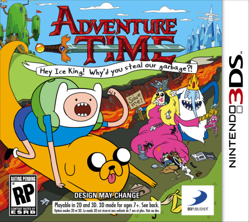 "tinycartridge:  WayForward's Adventure Time game is releasing for 3DS, too — and not just DS, as was initially reported. In addition to this fine boxart, we now have the game's full title (Adventure Time: Hey Ice King! Why'd You Steal Our Garbage?!) and some details on its story:  ""Finn and Jake wake up one morning to find their trash stolen by the Ice King. Jake couldn't care less about half-eaten bananas, crumpled up burrito wrappers, and old chicken diapers – but when they find out the Ice King is using their stolen goods to construct a Garbage Princess, the heroes embark on a fantastical adventure to teach him a lesson!""  Adventure Time creator Pendleton Ward is working with WayForward (Aliens: Infestation, Mighty Switch Force) on the action-adventure game's storyline and quests. Buy: Adventure Time merch & DVDs See also: More mathematical Adventure Time posts  Gaming news that is probably pertinent to the interests of some of my followers!"