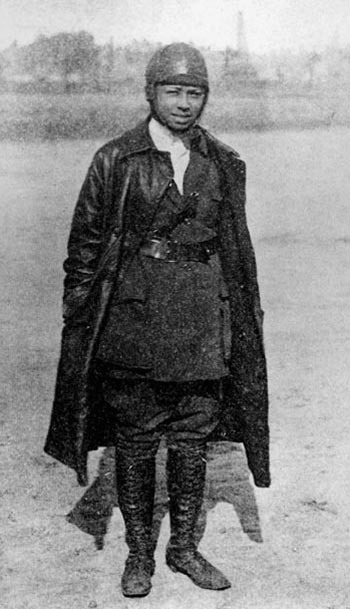 "fuckyeahhistorycrushes:  Bessie Coleman (1892-1926) Aviatrix Known to an admiring public as ""Queen Bess,"" Bessie Coleman was the first black woman ever to fly an airplane and the first African American to earn an international pilot's license. During her brief yet distinguished career as a performance flier, she appeared at air shows and exhibitions across the United States, earning wide recognition for her aerial skill, her dramatic flair and her tenacity. But the thrill of stunt flying and the admiration of cheering crowds were only part of Coleman's dream. Forced for a time to work as a laundress and manicurist to make ends meet, Coleman never lost sight of her childhood vow to one day ""amount to something."" As a professional aviatrix, Coleman would often be criticized by the press for her opportunistic nature and the flamboyant style she brought to her exhibition flying. However, she also quickly gained a reputation as a skilled and daring pilot who would stop at nothing to complete a difficult stunt. Unfortunately, Coleman would not live long enough to fulfill her greatest dream — establishing a school for young, black aviators — but her pioneering achievements served as an inspiration for a generation of African American men and women. ""Because of Bessie Coleman,"" wrote Lieutenant William J. Powell in Black Wings, ""we have overcome that which was worse than racial barriers. We have overcome the barriers within ourselves and dared to dream."" Read more of Caroline B. D. Smith's article here. Photo: Bessie Coleman around the time of her French visit, c.1922 (Smithsonian Institution, Neg. ID #: 99-15415, scraped from this site.)"