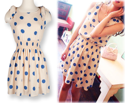sincerelysweetboutique:    Carnival Day Sailor Collar Flap Blue Polka Dotted Dress     This fun sleeveless cream colored dress features large playful blue polka dots, removable shoulder ties, flap collar detail and stretchable smocked waist.