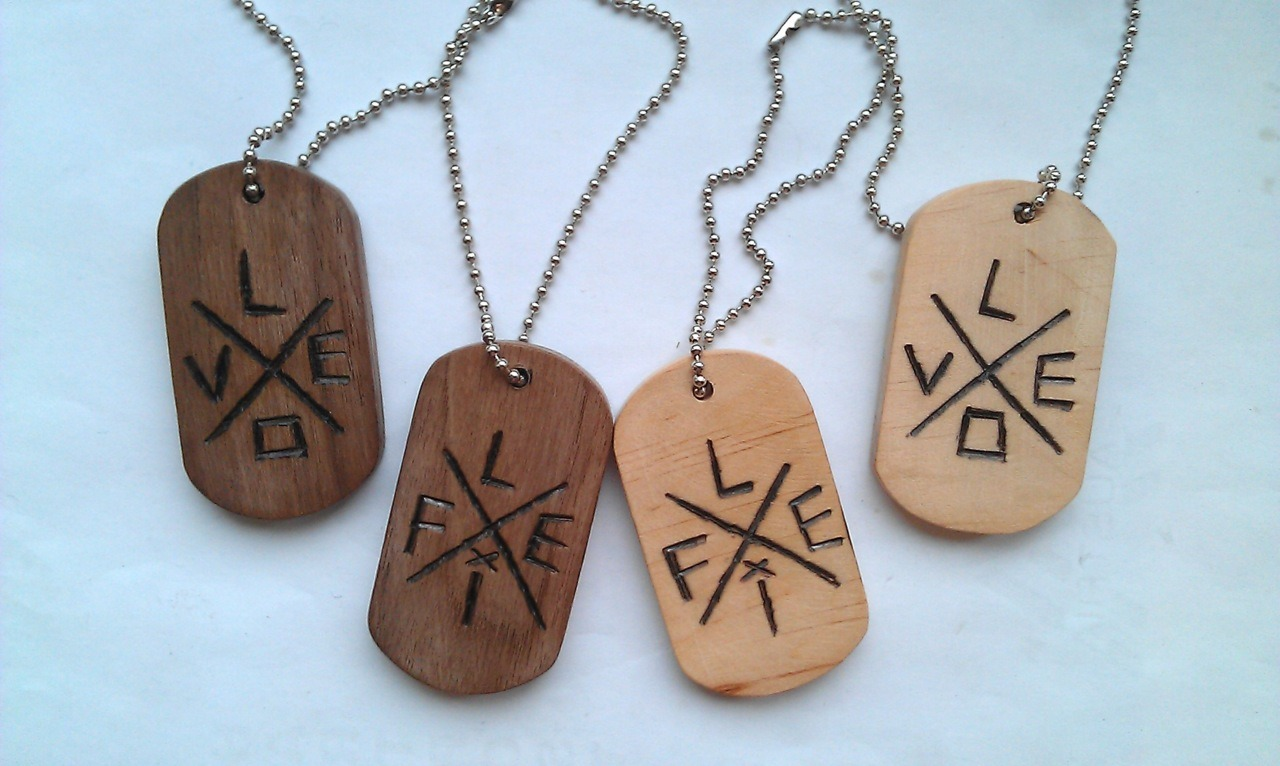 LOVE X LIVE dogtags. Nutwood and Bleech.available now at:www.pavianplugs.com/pavianplugsorganics