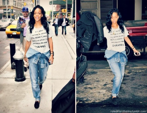 ratedrforrihanna:  Candid: Rihanna in NYC wearing an Armani Jumpsuit from her Emporio Armani Collection (May 01)
