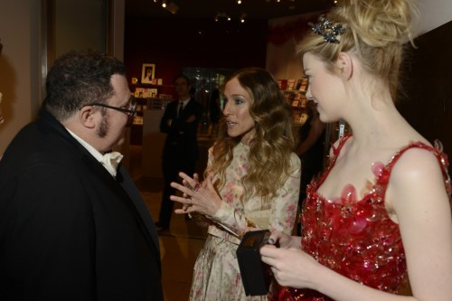 Alber Elbaz, Sarah Jessica Parker and Emma Stone at the Met Gala, May 2012