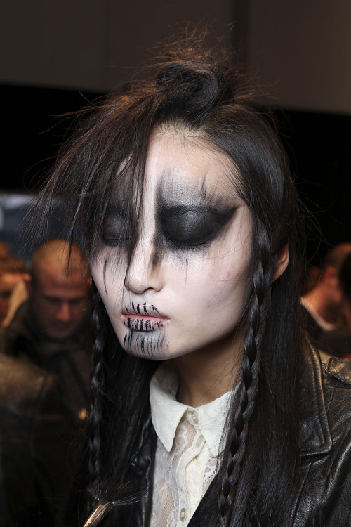 Vivienne Westwood backstage, focus on makeup, during the Paris Fashion Week Fall 2011