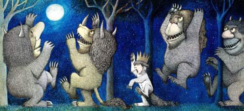 culturalgutter:  Illustration from Where The Wild Things Are, click through for more illustrations and a video of Sendak talking about being an illustrator. RIP, Maurice Sendak.