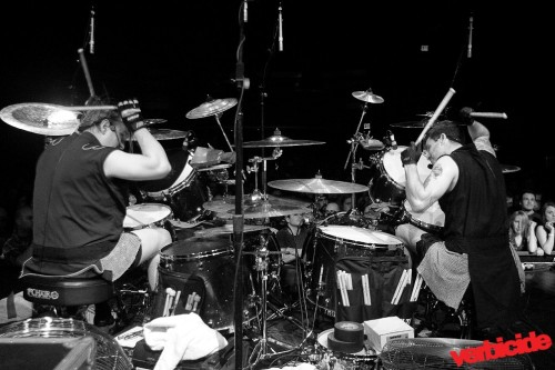 Melvins drummers Dale Crover and Coady Willis, live in New York, April 29, 2012. (Photo by Jammi York; see more show pics at Verbicide)