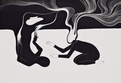2headedsnake:  moonassi.com Moonassi, 'I always go back to me', 29.5 x 42cm, Marker and pen on the paper, 2010