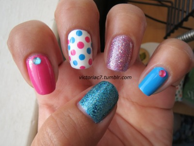 More pink & blue Colors used:  Zoya - Robyn, Jolene Milani - Pink Flare Wet N' Wild - Cost Is No Issue