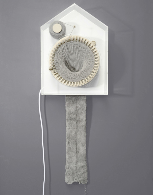 "metalhearts:  365 Knitting Clock by Siren Elise Wilhemsen  ""365 is stitching the time as it passes by. It is knitting 24 hours a day and one year at the time, showing the physical representation of time as a creative and tangible force. After 365 days the clock has turned the passed year into a 2-m long scarf. Now the past can be carried out in the future and the upcoming year is hiding in a new spool of thread, still unknitted."""