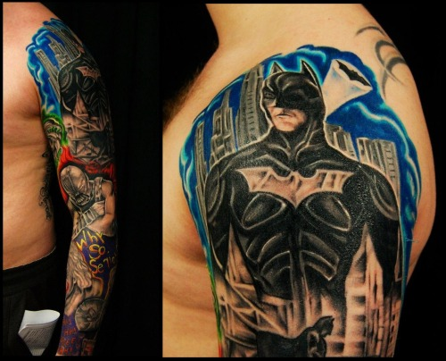 Full Batman Sleeve! Done at Diamondback tattoo studio, Larne, Northern Ireland http://nevermore-ink.tumblr.com/ http://www.facebook.com/pages/Diamondback-Tattoo-Studio/130154213710071